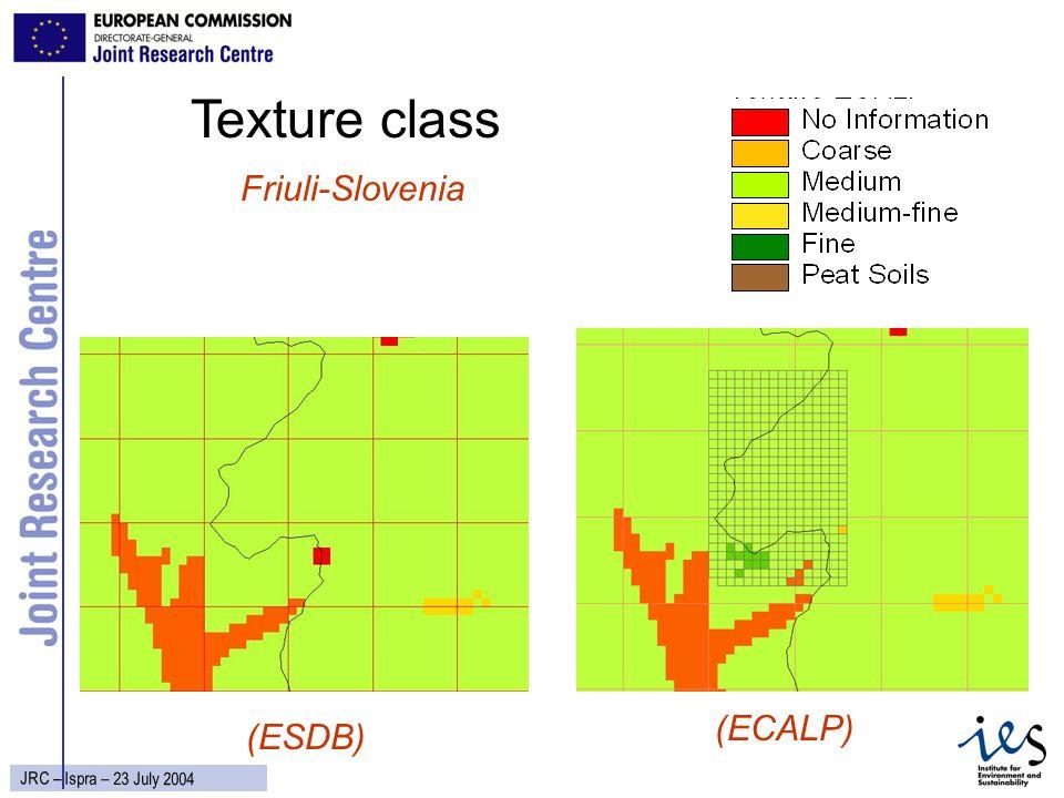 21 JRC – Ispra – 23 July 2004 Texture class Friuli-Slovenia (ECALP) (ESDB)