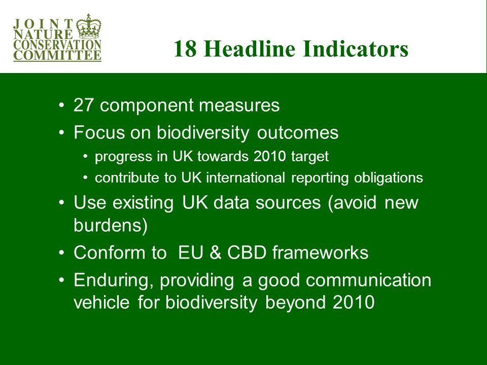 Status and trends of the components of biological diversity 3. Status of UK BAP Priority Species