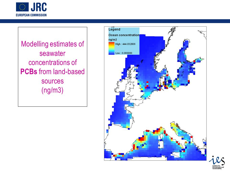 Modelling estimates of seawater concentrations of PCBs from land-based sources (ng/m3)