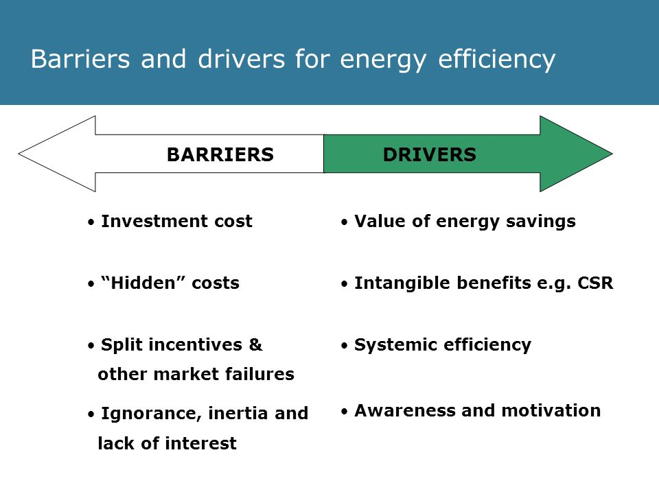 Barriers and drivers for energy efficiency Investment cost Hidden costs Split incentives & other market failures Ignorance, inertia and lack of interest DRIVERS Value of energy savings Intangible benefits e.g.