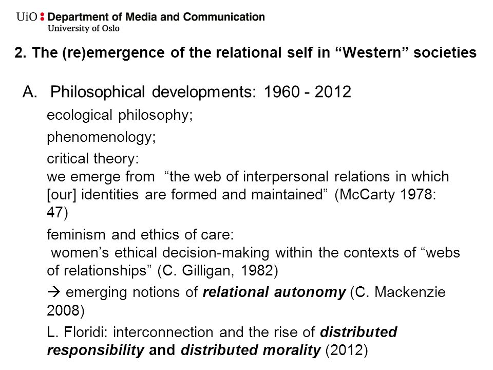 2. The (re)emergence of the relational self in Western societies A.Philosophical developments: 1960 - 2012 ecological philosophy; phenomenology; criti