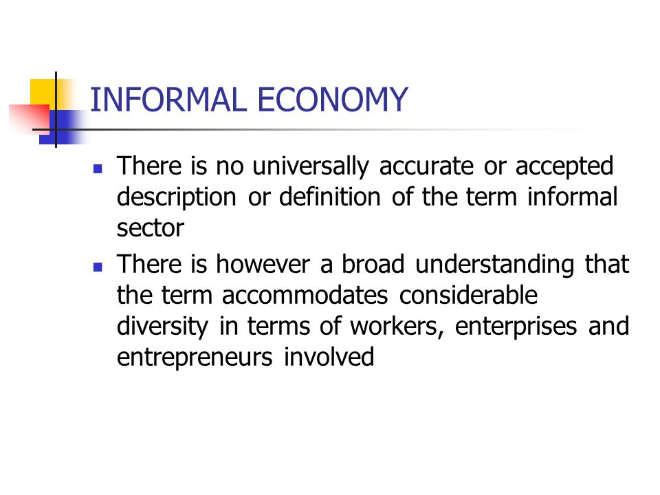 INFORMAL ECONOMY There is no universally accurate or accepted description or definition of the term informal sector There is however a broad understan