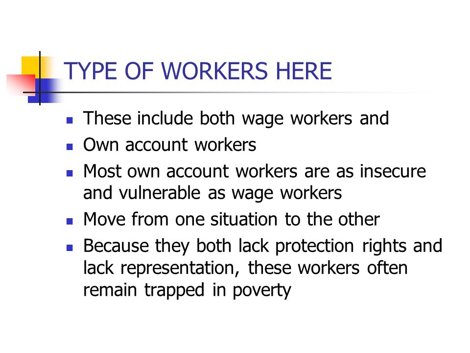 TYPE OF WORKERS HERE These include both wage workers and Own account workers Most own account workers are as insecure and vulnerable as wage workers M
