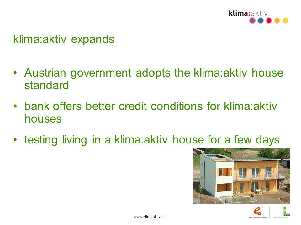 www.klimaaktiv.at klima:aktiv expands Austrian government adopts the klima:aktiv house standard bank offers better credit conditions for klima:aktiv h