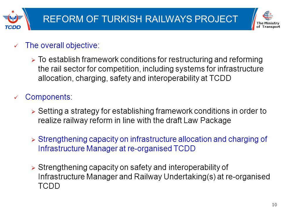10 www.ubak.gov.tr DEMİRYOLLARININ TARİHSEL GELİŞİMİ REFORM OF TURKISH RAILWAYS PROJECT The Ministry of Transport The overall objective: To establish