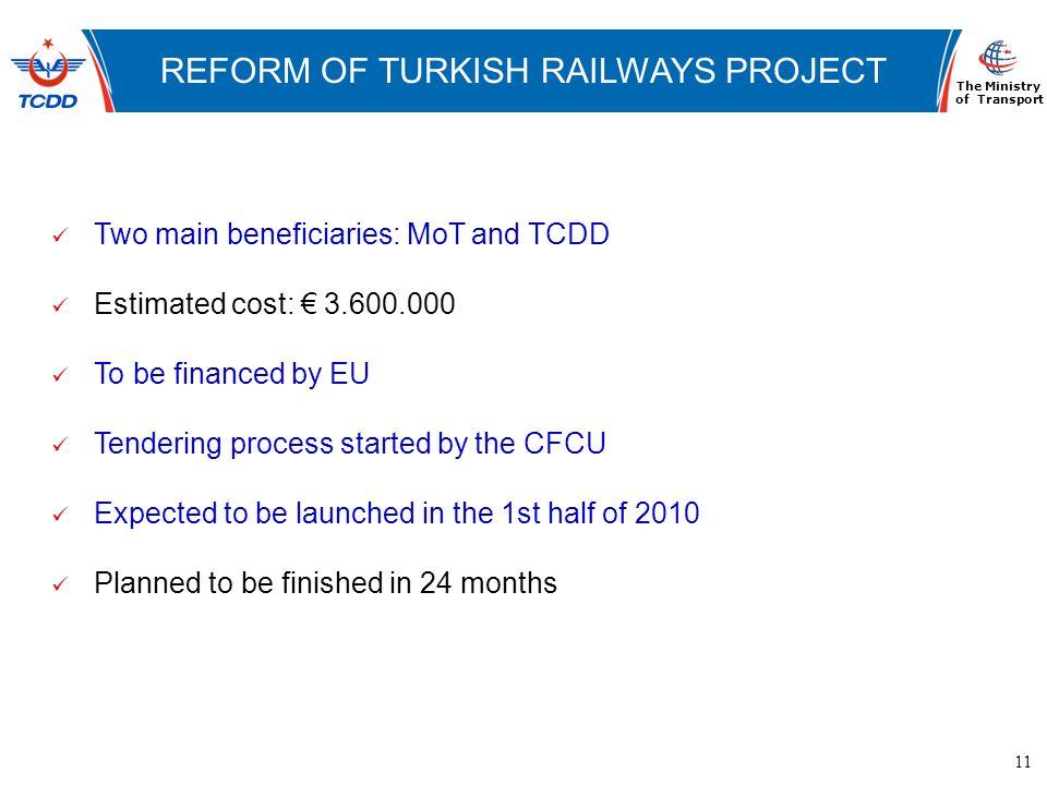 11 www.ubak.gov.tr DEMİRYOLLARININ TARİHSEL GELİŞİMİ REFORM OF TURKISH RAILWAYS PROJECT The Ministry of Transport Two main beneficiaries: MoT and TCDD