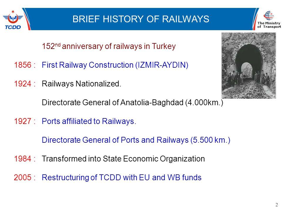 2 www.ubak.gov.tr DEMİRYOLLARININ TARİHSEL GELİŞİMİ BRIEF HISTORY OF RAILWAYS The Ministry of Transport 152 nd anniversary of railways in Turkey 1856
