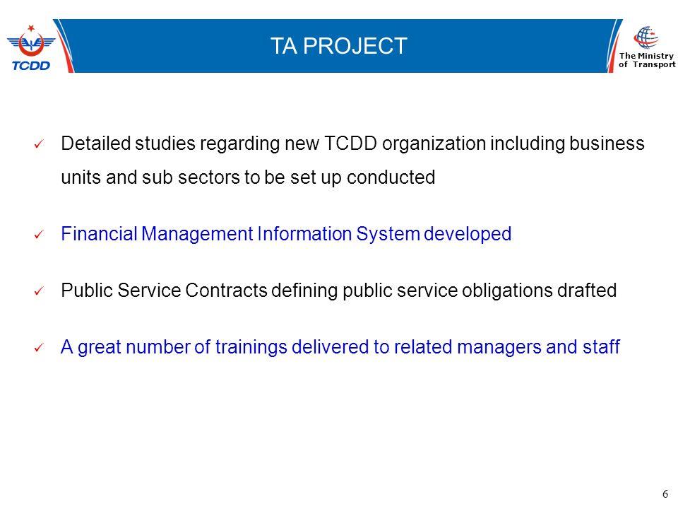 6 www.ubak.gov.tr DEMİRYOLLARININ TARİHSEL GELİŞİMİ TA PROJECT The Ministry of Transport Detailed studies regarding new TCDD organization including bu