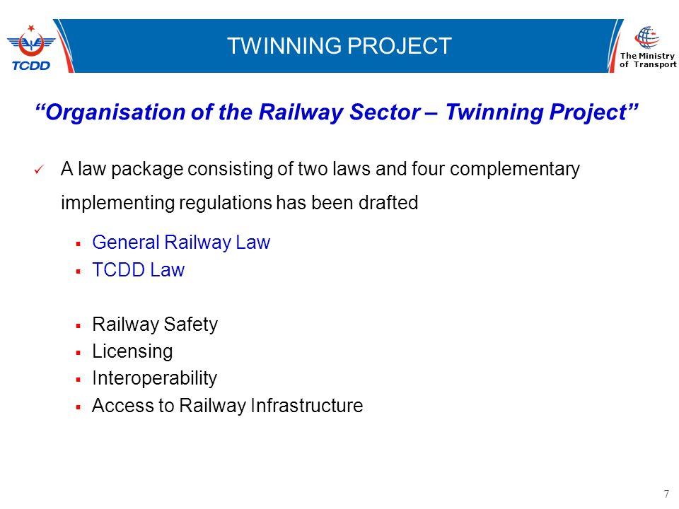 7 www.ubak.gov.tr DEMİRYOLLARININ TARİHSEL GELİŞİMİ TWINNING PROJECT The Ministry of Transport Organisation of the Railway Sector – Twinning Project A
