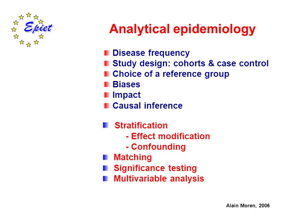 Analytical epidemiology Disease frequency Study design: cohorts & case control Choice of a reference group Biases Impact Causal inference Alain Moren,