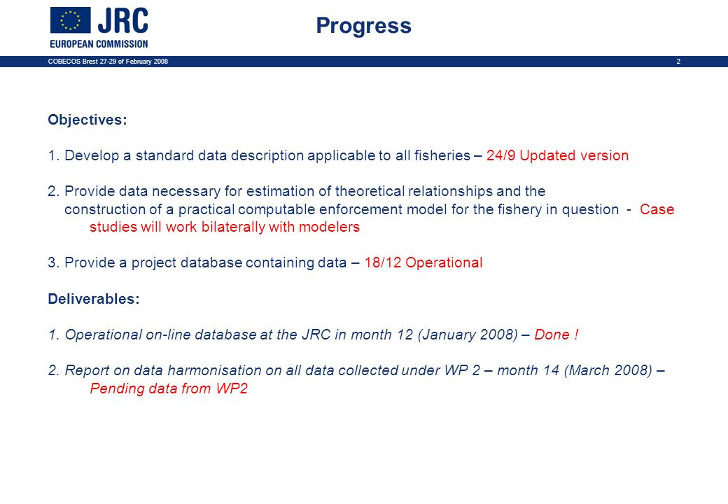 COBECOS Brest 27-29 of February 20082 Progress Objectives: 1. Develop a standard data description applicable to all fisheries – 24/9 Updated version 2