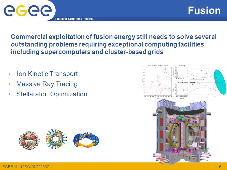 Enabling Grids for E-sciencE EGEE-III INFSO-RI-222667 Fusion 9 Ion Kinetic Transport Massive Ray Tracing Stellarator Optimization Commercial exploitation of fusion energy still needs to solve several outstanding problems requiring exceptional computing facilities including supercomputers and cluster-based grids