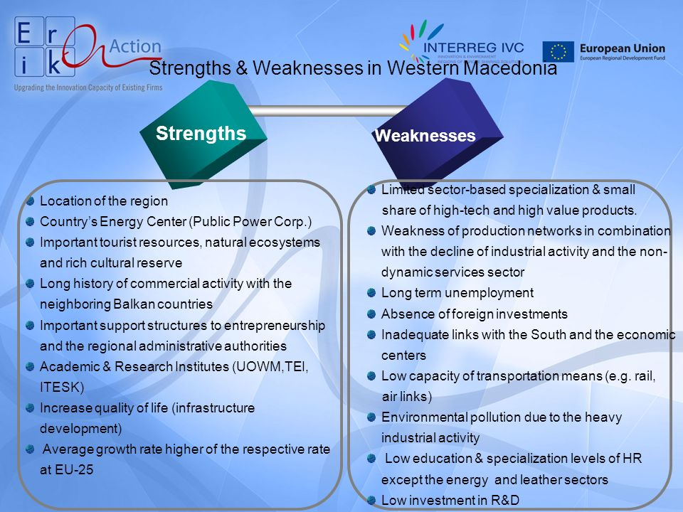 Strengths & Weaknesses in Western Macedonia Strengths Weaknesses Location of the region Countrys Energy Center (Public Power Corp.) Important tourist resources, natural ecosystems and rich cultural reserve Long history of commercial activity with the neighboring Balkan countries Important support structures to entrepreneurship and the regional administrative authorities Academic & Research Institutes (UOWM,TEI, ITESK) Increase quality of life (infrastructure development) Average growth rate higher of the respective rate at EU-25 Limited sector-based specialization & small share of high-tech and high value products.
