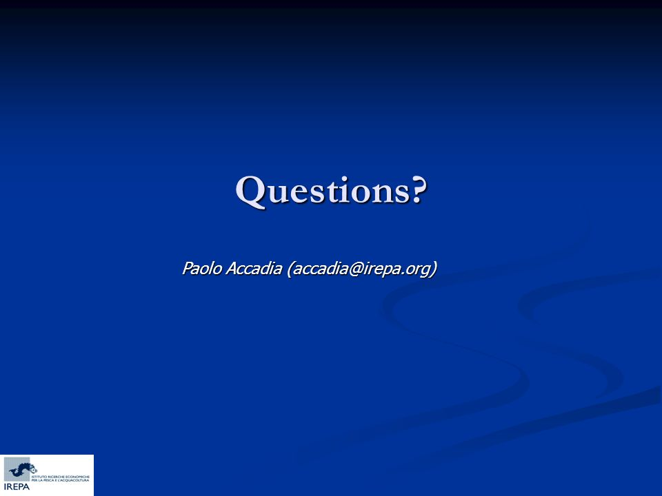Questions? Paolo Accadia (accadia@irepa.org)