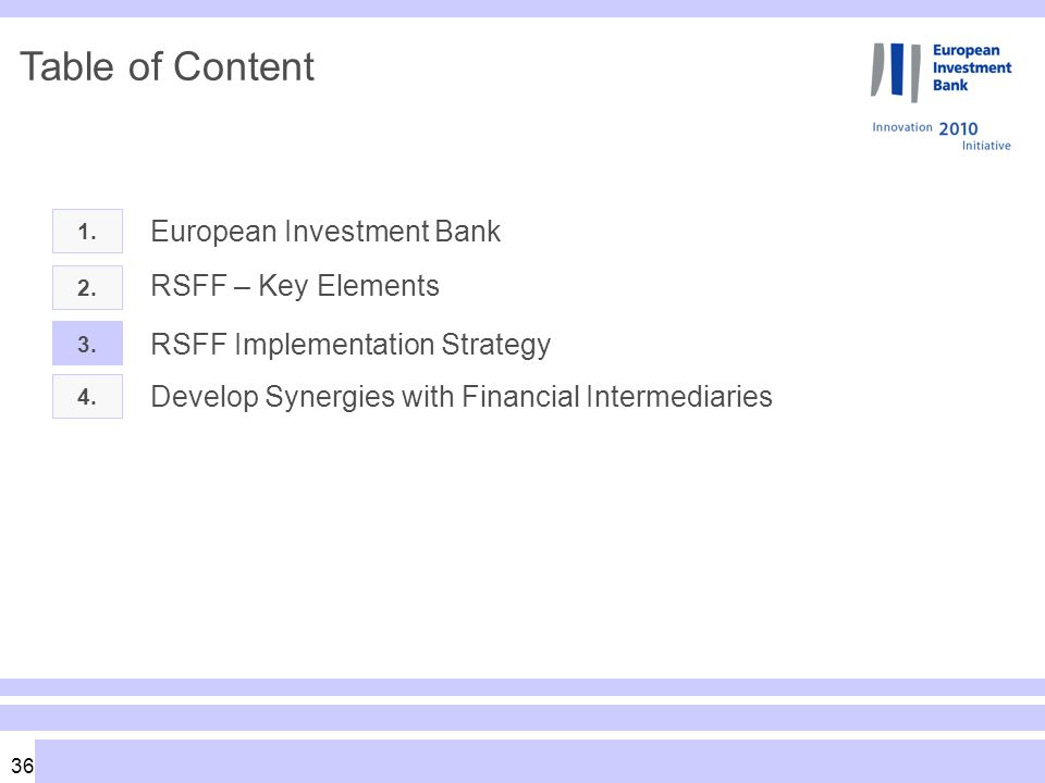 36 Table of Content 1. European Investment Bank 2.