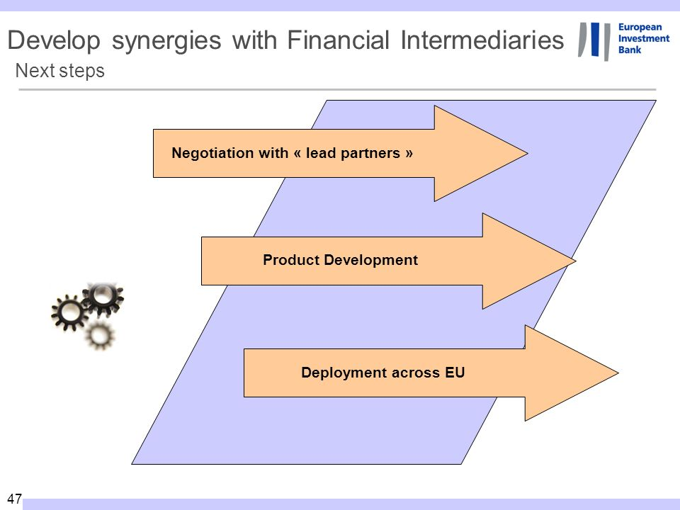 47 Next steps Negotiation with « lead partners » Product Development Deployment across EU Develop synergies with Financial Intermediaries