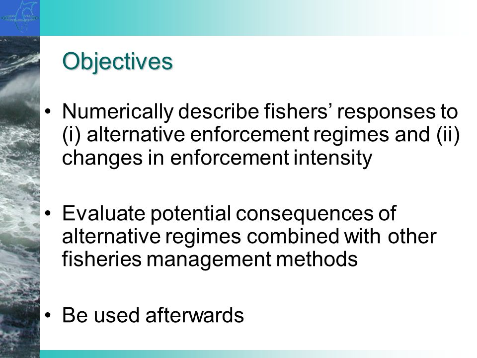 Objectives Numerically describe fishers responses to (i) alternative enforcement regimes and (ii) changes in enforcement intensity Evaluate potential
