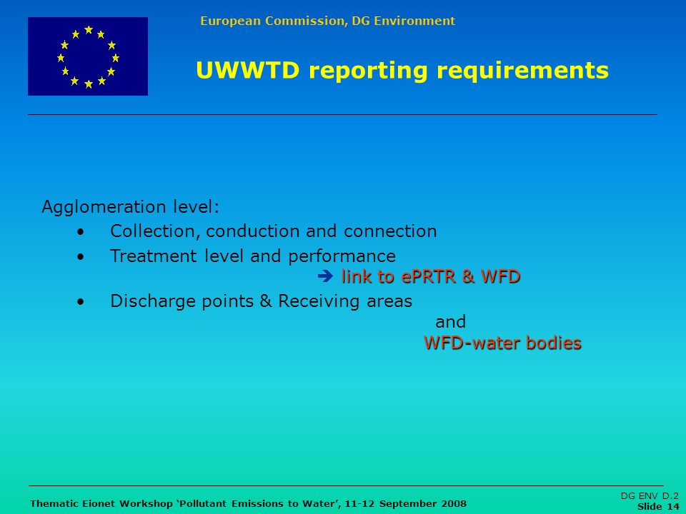European Commission, DG Environment Thematic Eionet Workshop Pollutant Emissions to Water, 11-12 September 2008 DG ENV D.2 Slide 14 UWWTD reporting re