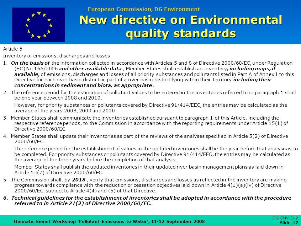 European Commission, DG Environment Thematic Eionet Workshop Pollutant Emissions to Water, 11-12 September 2008 DG ENV D.2 Slide 17 New directive on E