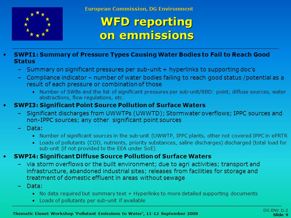 European Commission, DG Environment Thematic Eionet Workshop Pollutant Emissions to Water, 11-12 September 2008 DG ENV D.2 Slide 9 SWPI1: Summary of Pressure Types Causing Water Bodies to Fail to Reach Good Status –Summary on significant pressures per sub-unit + hyperlinks to supporting docs –Compliance indicator – number of water bodies failing to reach good status /potential as a result of each pressure or combination of those Number of SWBs and the list of significant pressures per sub-unit/RBD: point, diffuse sources, water abstractions, flow regulations, etc.
