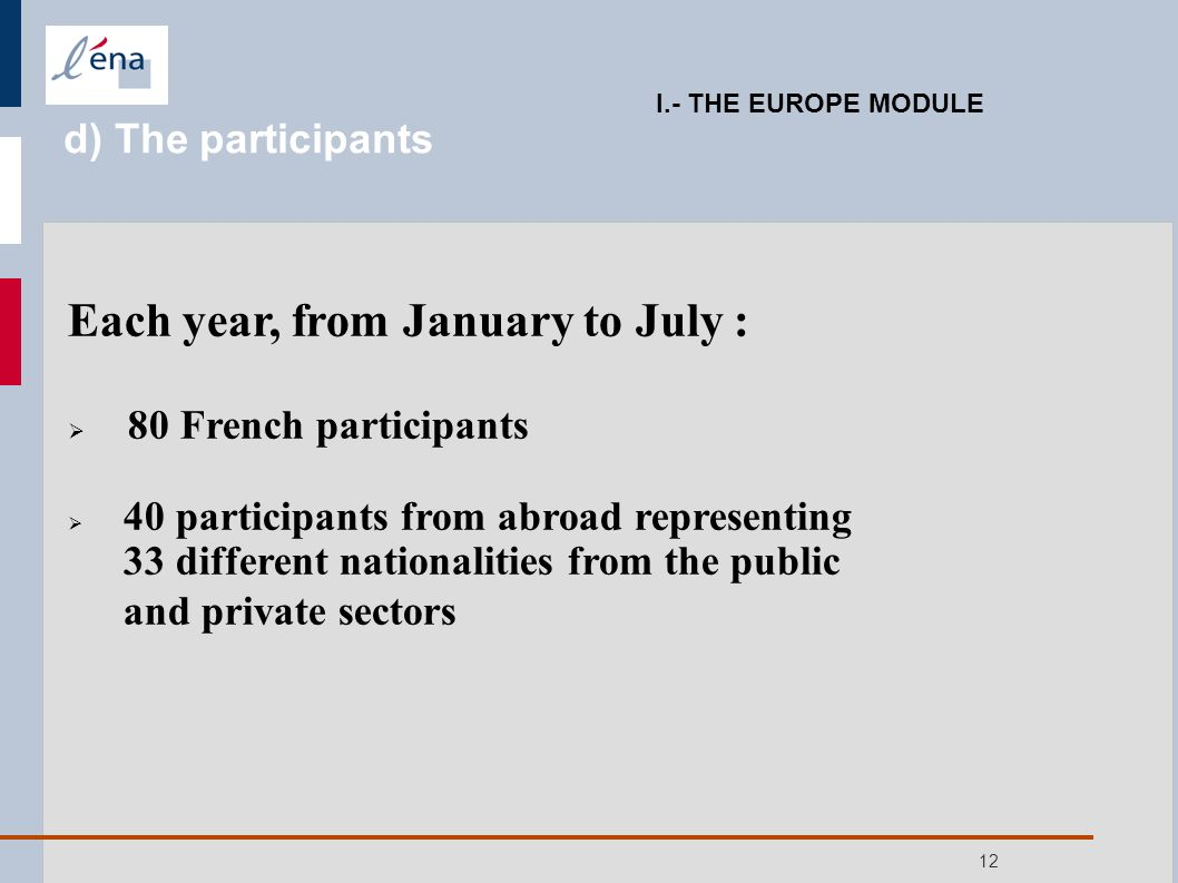 12 Each year, from January to July : 80 French participants 40 participants from abroad representing 33 different nationalities from the public and private sectors I.- THE EUROPE MODULE d) The participants