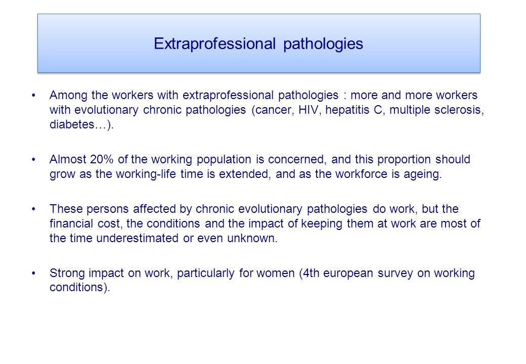 Extraprofessional pathologies Among the workers with extraprofessional pathologies : more and more workers with evolutionary chronic pathologies (cancer, HIV, hepatitis C, multiple sclerosis, diabetes…).