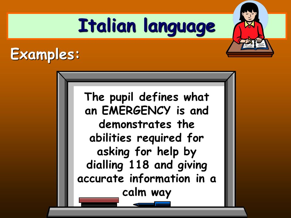 Italian language The pupil defines what an EMERGENCY is and demonstrates the abilities required for asking for help by dialling 118 and giving accurat