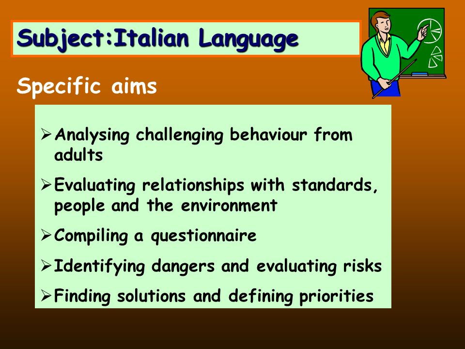 Subject:Italian Language Analysing challenging behaviour from adults Evaluating relationships with standards, people and the environment Compiling a q