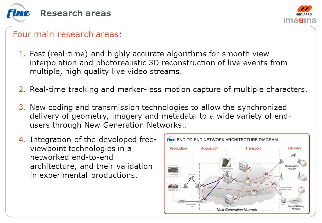 Research areas Four main research areas: 1.Fast (real-time) and highly accurate algorithms for smooth view interpolation and photorealistic 3D reconstruction of live events from multiple, high quality live video streams.
