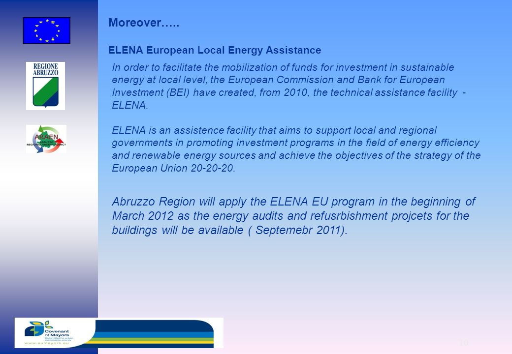 10 Abruzzo Region will apply the ELENA EU program in the beginning of March 2012 as the energy audits and refusrbishment projcets for the buildings will be available ( Septemebr 2011).