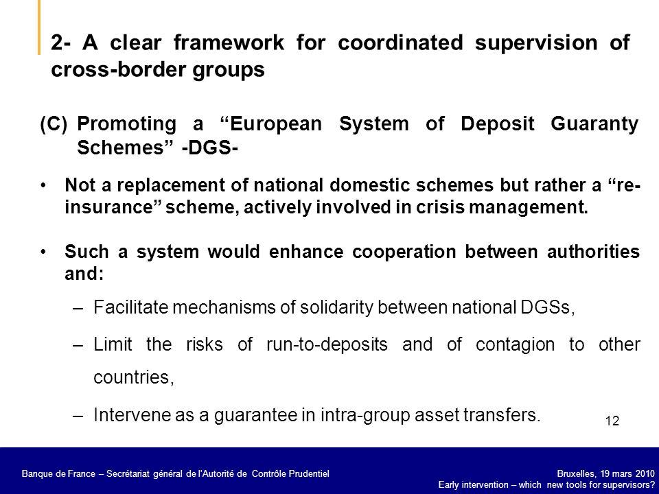 Banque de France – Secrétariat général de la Commission bancaire Bruxelles, 19 mars 2010 Early intervention – which new tools for supervisors.