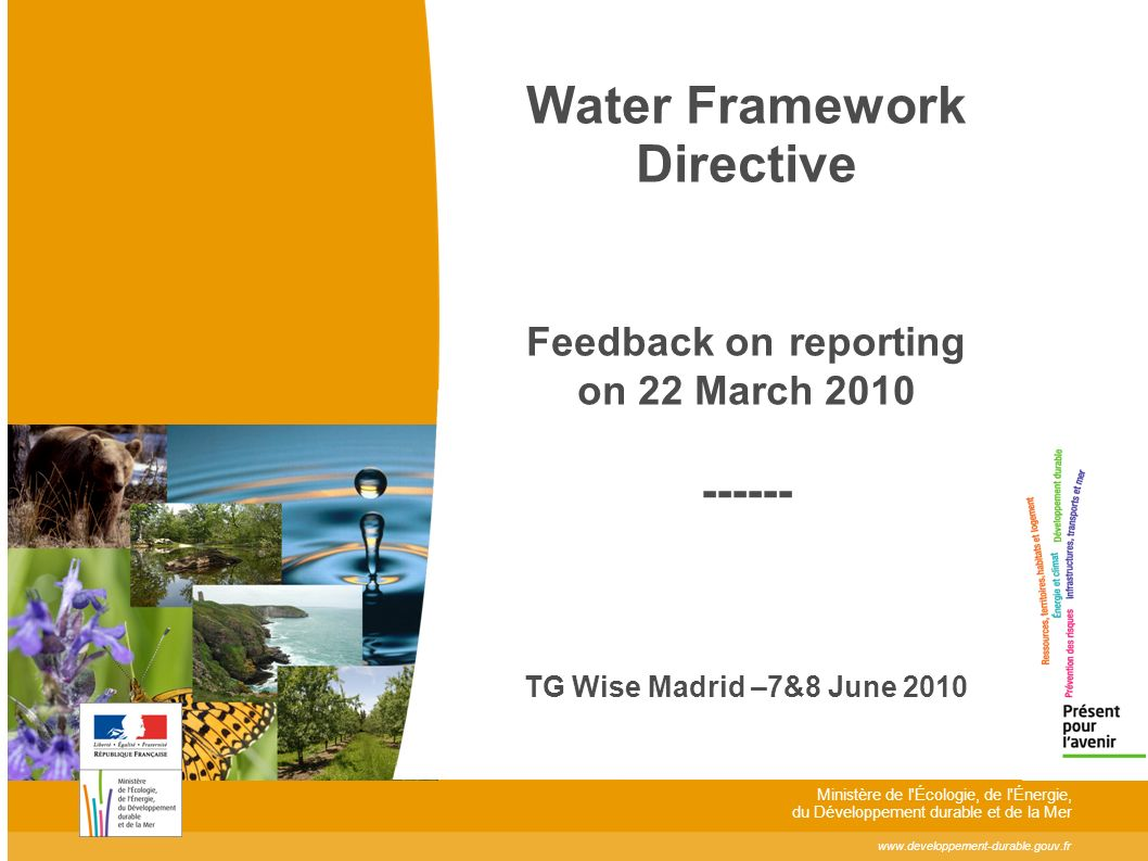 www.developpement-durable.gouv.fr Ministère de l Écologie, de l Énergie, du Développement durable et de la Mer Water Framework Directive Feedback on reporting on 22 March 2010 ------ TG Wise Madrid –7&8 June 2010