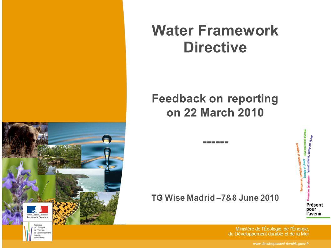 www.developpement-durable.gouv.fr Ministère de l Écologie, de l Énergie, du Développement durable et de la Mer Water Framework Directive Feedback on reporting on 22 March 2010 ------ TG Wise Madrid –7&8 June 2010