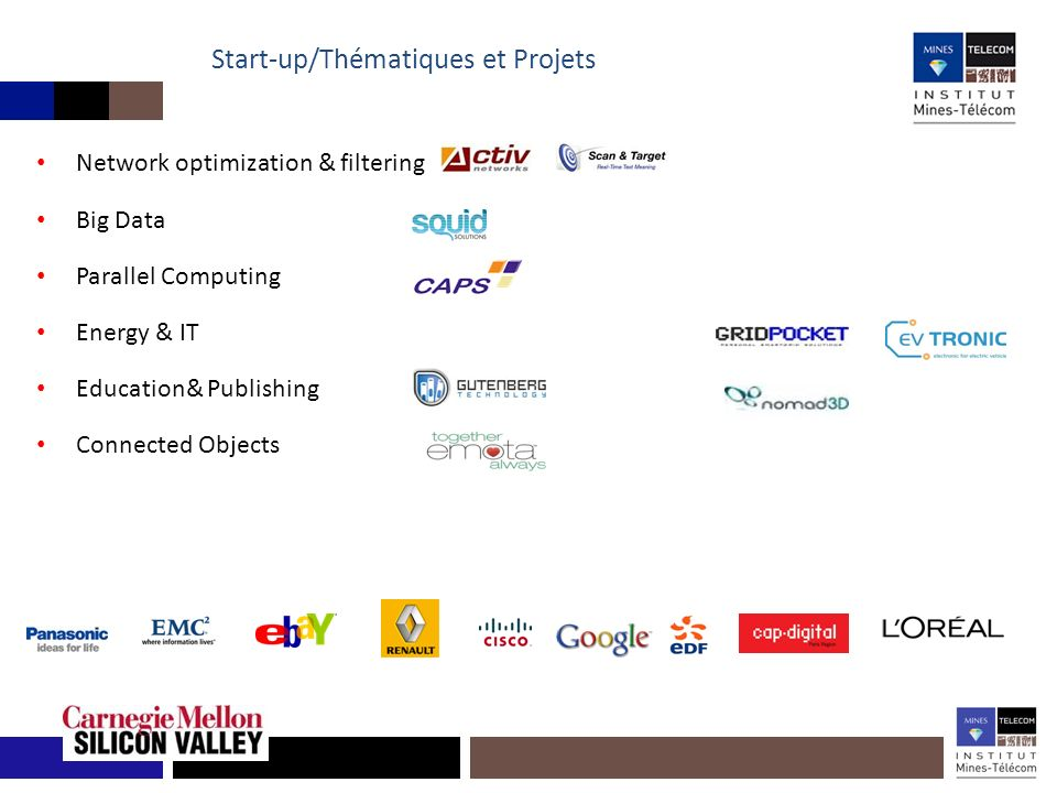 Start-up/Thématiques et Projets Network optimization & filtering Big Data Parallel Computing Energy & IT Education& Publishing Connected Objects