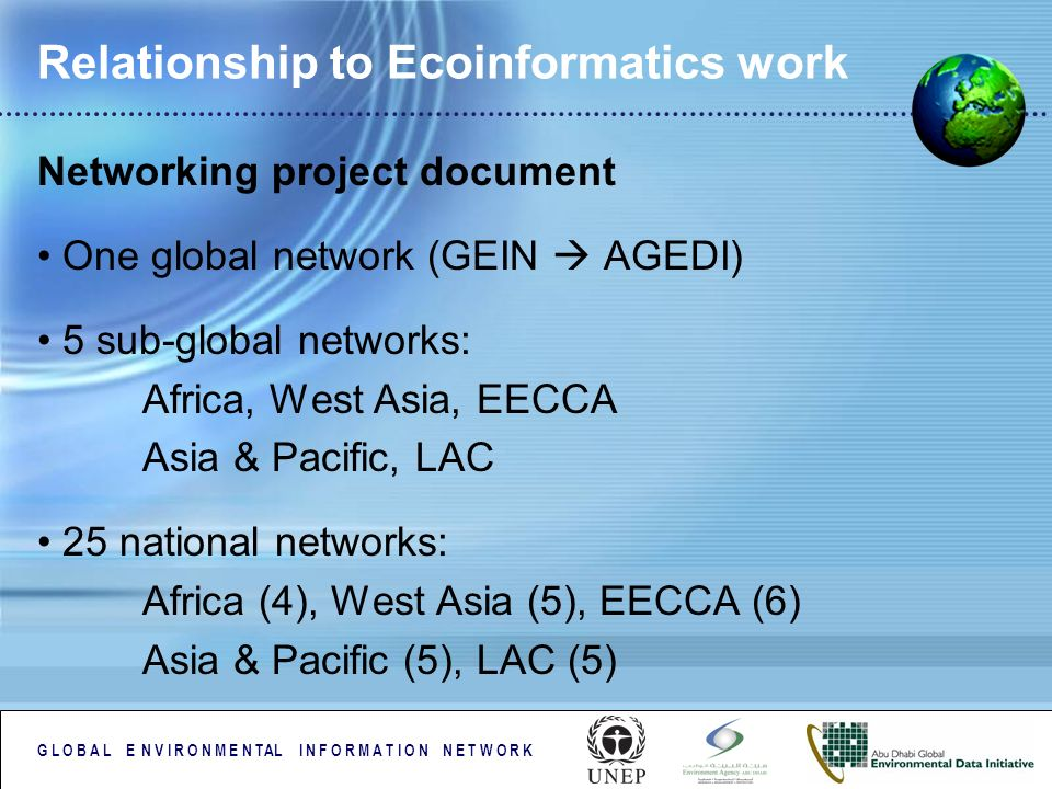 G L O B A L E N V I R O N M E N TAL I N F O R M A T I O N N E T W O R K Relationship to Ecoinformatics work Networking project document One global network (GEIN AGEDI) 5 sub-global networks: Africa, West Asia, EECCA Asia & Pacific, LAC 25 national networks: Africa (4), West Asia (5), EECCA (6) Asia & Pacific (5), LAC (5)
