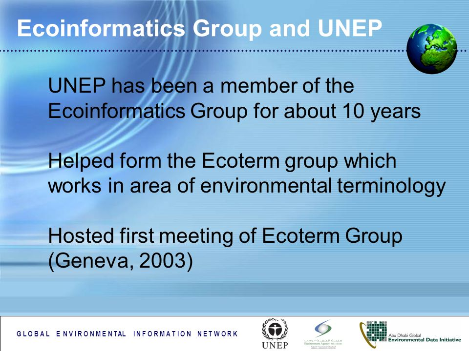 G L O B A L E N V I R O N M E N TAL I N F O R M A T I O N N E T W O R K Ecoinformatics Group and UNEP UNEP has been a member of the Ecoinformatics Gro