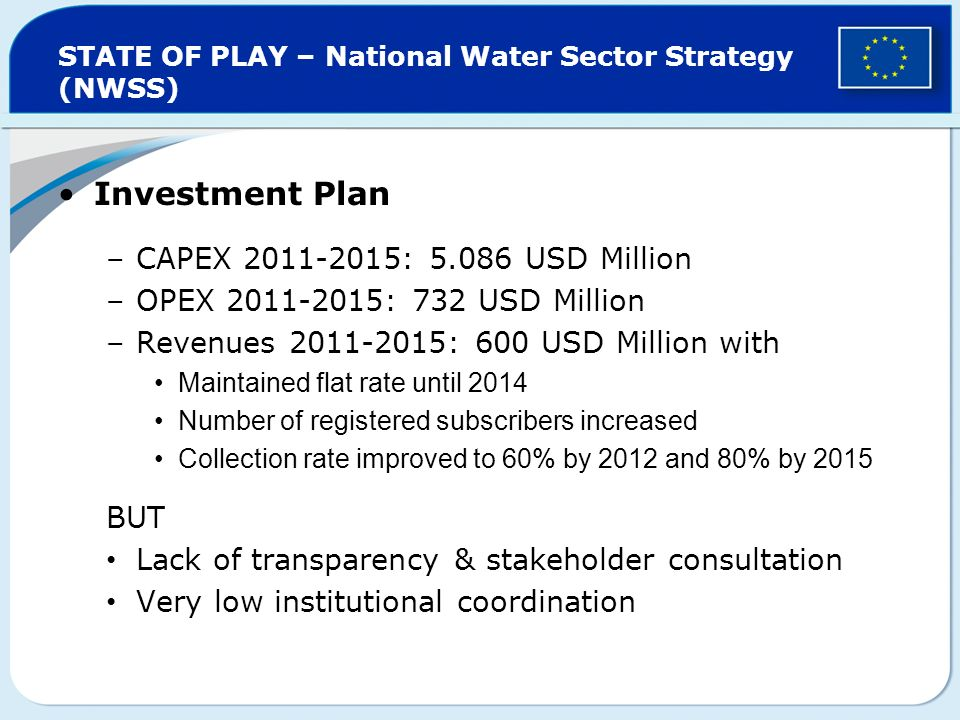 STATE OF PLAY – National Water Sector Strategy (NWSS) Investment Plan –CAPEX 2011-2015: 5.086 USD Million –OPEX 2011-2015: 732 USD Million –Revenues 2011-2015: 600 USD Million with Maintained flat rate until 2014 Number of registered subscribers increased Collection rate improved to 60% by 2012 and 80% by 2015 BUT Lack of transparency & stakeholder consultation Very low institutional coordination
