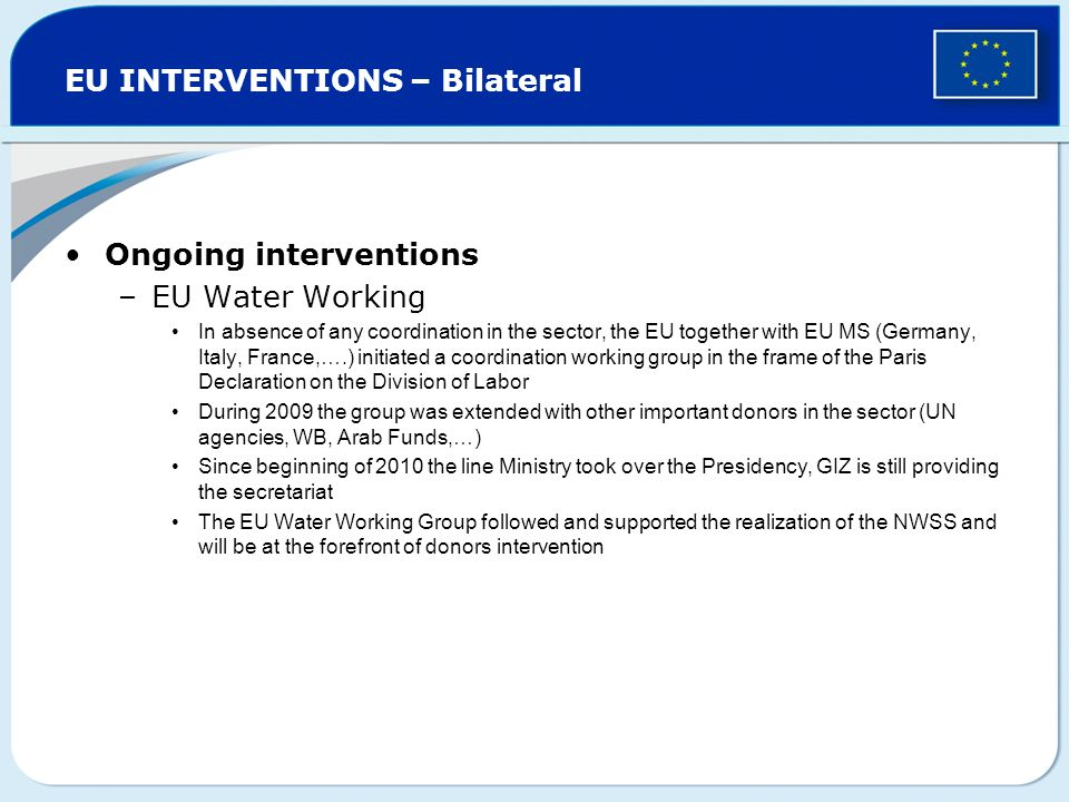 EU INTERVENTIONS – Bilateral Ongoing interventions –EU Water Working In absence of any coordination in the sector, the EU together with EU MS (Germany