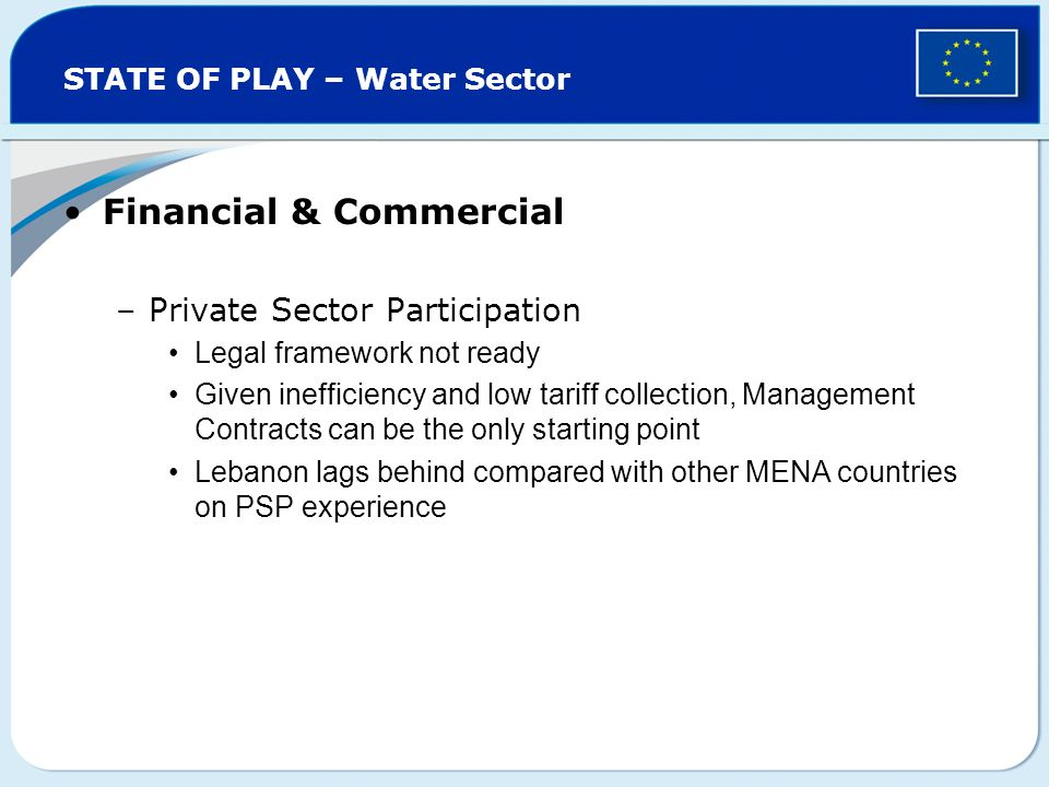 STATE OF PLAY – Water Sector Financial & Commercial –Private Sector Participation Legal framework not ready Given inefficiency and low tariff collection, Management Contracts can be the only starting point Lebanon lags behind compared with other MENA countries on PSP experience