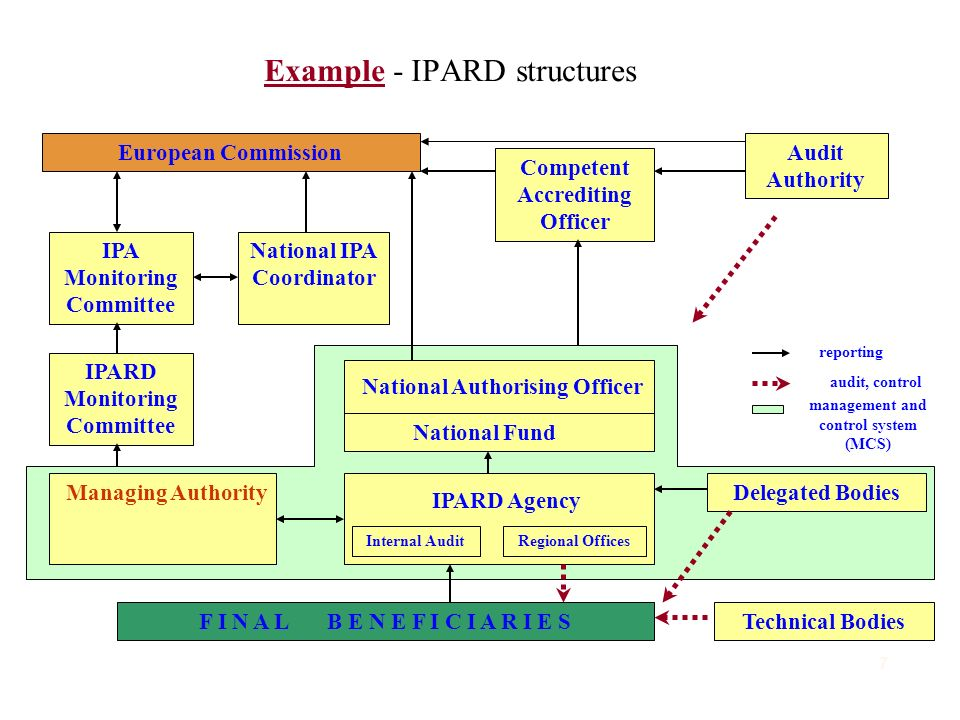 Example - IPARD structures F I N A L B E N E F I C I A R I E STechnical Bodies IPARD Agency Internal AuditRegional Offices Delegated Bodies Managing Authority National Authorising Officer National Fund IPARD Monitoring Committee IPA Monitoring Committee European Commission Competent Accrediting Officer National IPA Coordinator Audit Authority reporting audit, control management and control system (MCS) 7