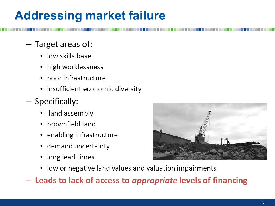 Addressing market failure – Target areas of: low skills base high worklessness poor infrastructure insufficient economic diversity – Specifically: lan