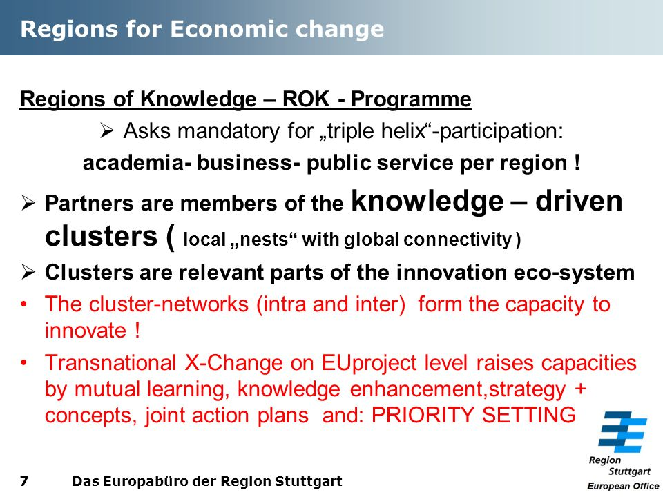 Regions for Economic change Regions of Knowledge – ROK - Programme Asks mandatory for triple helix-participation: academia- business- public service per region .