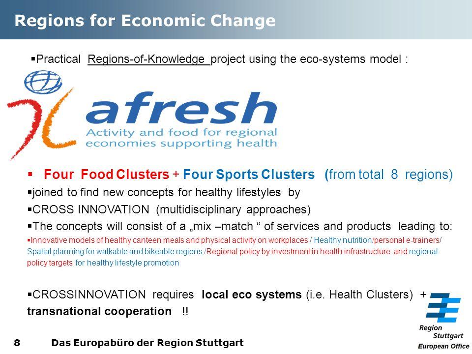 Regions for Economic Change Das Europabüro der Region Stuttgart8 Practical Regions-of-Knowledge project using the eco-systems model : Four Food Cluste
