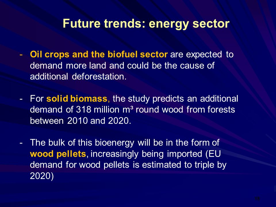 18 -Oil crops and the biofuel sector are expected to demand more land and could be the cause of additional deforestation.
