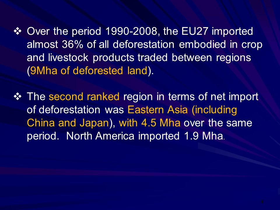 4 Over the period 1990-2008, the EU27 imported almost 36% of all deforestation embodied in crop and livestock products traded between regions (9Mha of deforested land).