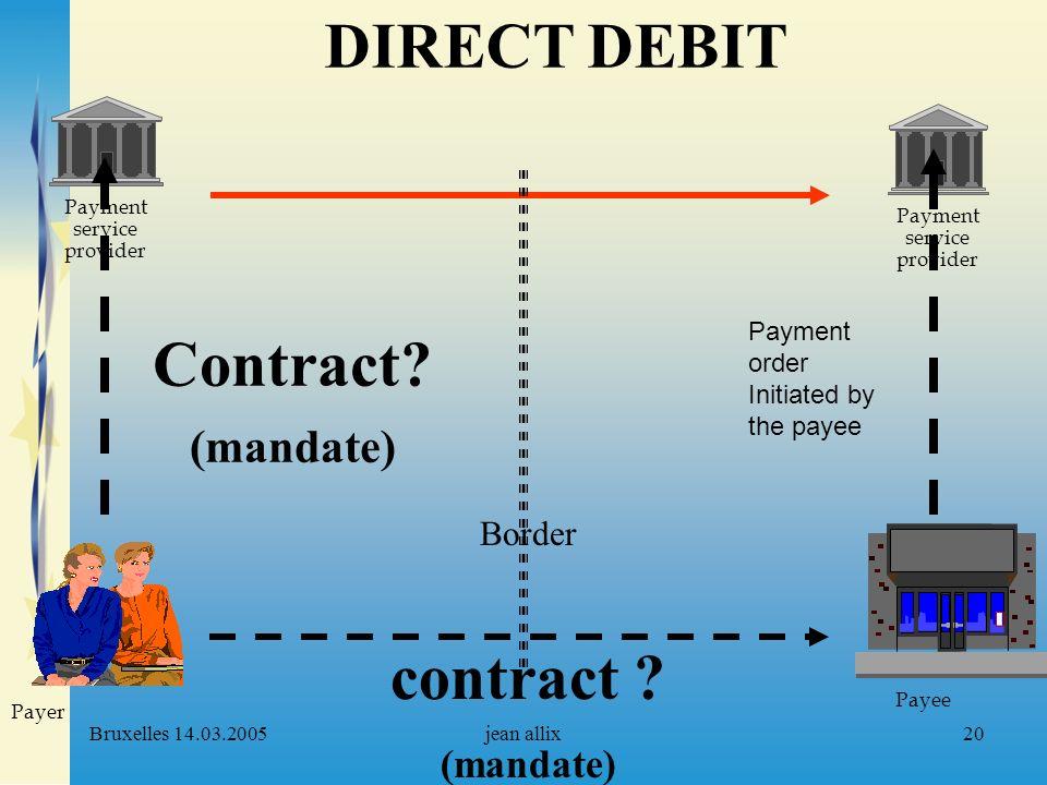 Bruxelles 14.03.2005jean allix20 Payment service provider Payer Payee Payment service provider Border contract ? (mandate) Contract? (mandate) DIRECT