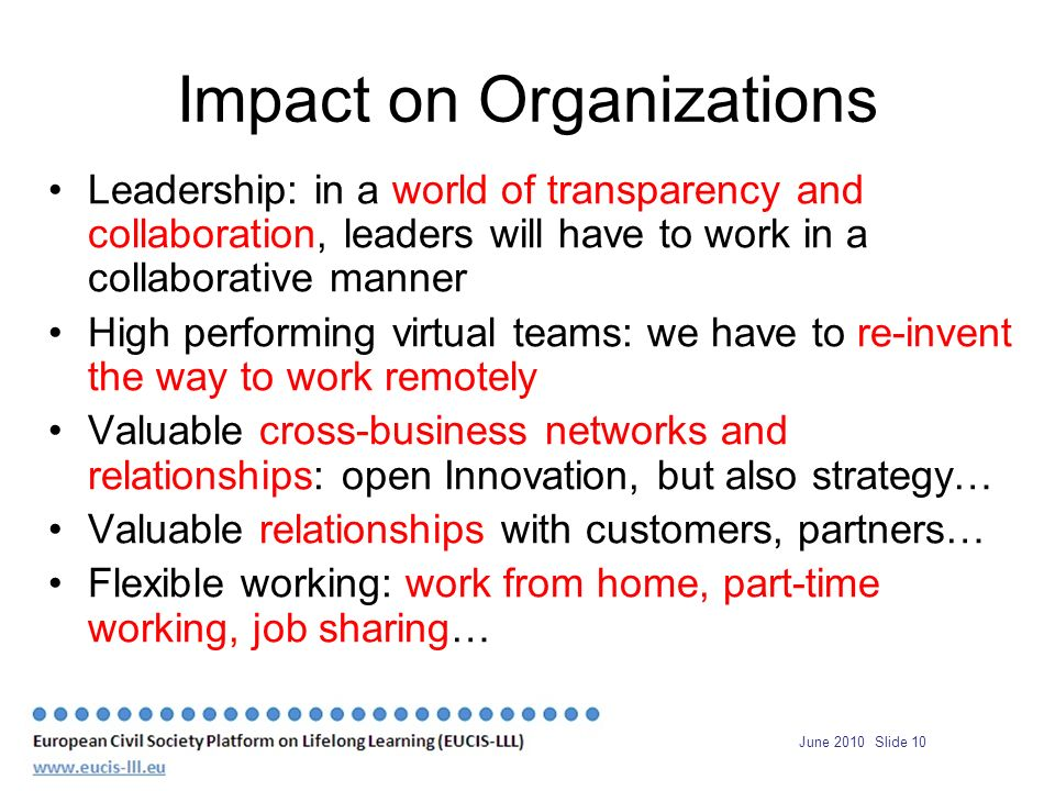 June 2010 Slide 10 Impact on Organizations Leadership: in a world of transparency and collaboration, leaders will have to work in a collaborative manner High performing virtual teams: we have to re-invent the way to work remotely Valuable cross-business networks and relationships: open Innovation, but also strategy… Valuable relationships with customers, partners… Flexible working: work from home, part-time working, job sharing…