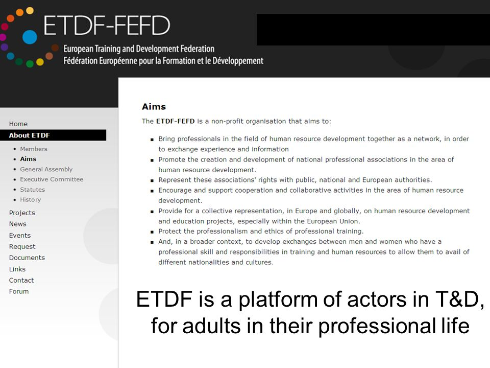 June 2010 Slide 5 ETDF is a platform of actors in T&D, for adults in their professional life