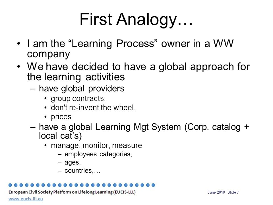 June 2010 Slide 7 First Analogy… I am the Learning Process owner in a WW company We have decided to have a global approach for the learning activities –have global providers group contracts, don t re-invent the wheel, prices –have a global Learning Mgt System (Corp.