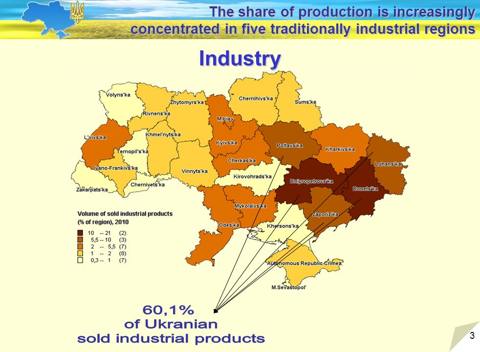 3 Industry The share of production is increasingly concentrated in five traditionally industrial regions
